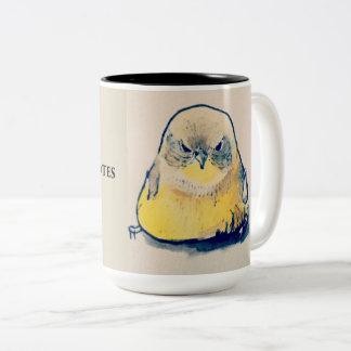 Taza Bicolor Pájaro enojado antes del café y de citas