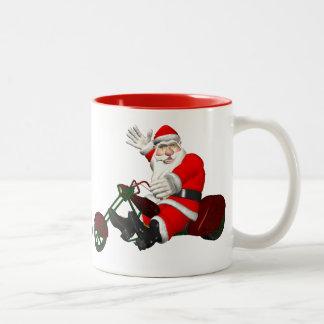 Taza Bicolor Papá Noel en el motor Trike