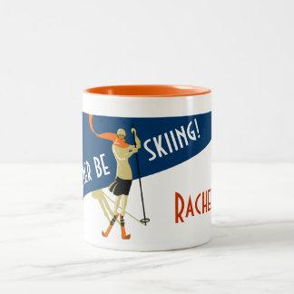 Taza Bicolor Personalizado: ¡Estaría esquiando bastante!