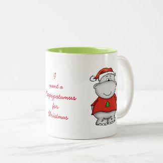 Taza Bicolor Quiero un hippopotamus para el navidad