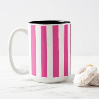 Taza Bicolor Rayas verticales rosadas