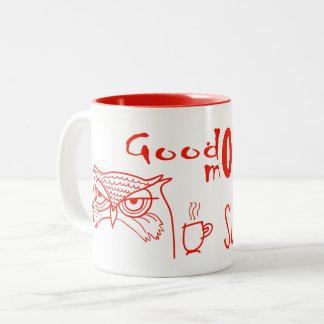 Taza Bicolor Sol divertida enojada de la buena mañana del búho