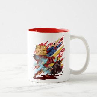 Taza Bicolor Superhombre de la liga de justicia el |, flash, y