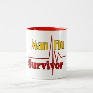 Taza Bicolor Tema del superviviente de la gripe del hombre