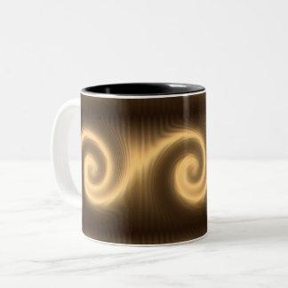 Taza Bicolor textura espiral de oro abstracta
