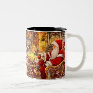 Taza Bicolor Trineo de Santa - ilustracion de Papá Noel