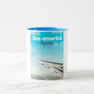 """Taza Bicolor Vea América """"volar hoy"""" la impresión de las"""