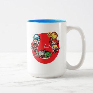 Taza Bicolor Vengadores de Kawaii dentro del Uno-Logotipo