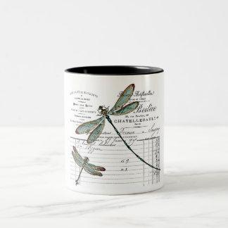 Taza Bicolor Vintage, Retro diseño Francia - libélula, insecto