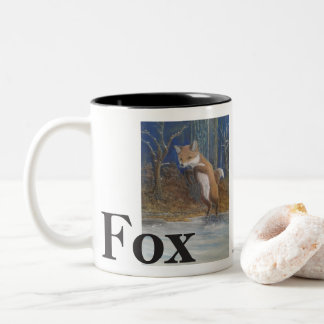Taza Bicolor Zorros. Fox de salto en nieve