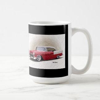 Taza blanca roja 1956 del arte de Chevy Digital