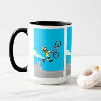 Taza BMX  niño volando por el aire  con su bicicleta