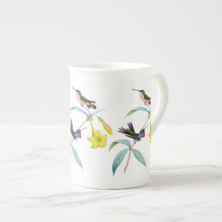 Taza botánica de la porcelana de hueso del