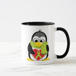 Taza Bufanda del pingüino de la cinta de la verde lima