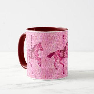 Taza Caballo del carrusel - rosa del fucsia