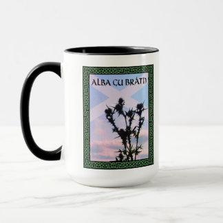 Taza Celtic Alba Alba de Saltire del cardo de Gu Bràth