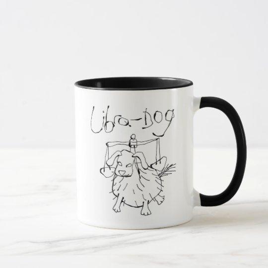 Taza china del perro del libra del zodiaco