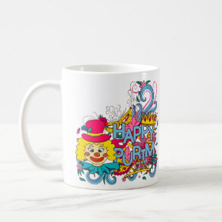 Taza colorida feliz de Purim