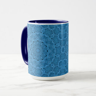 Taza combinada del caleidoscopio azul decorativo
