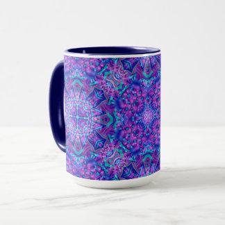 Taza combinada del caleidoscopio púrpura y azul