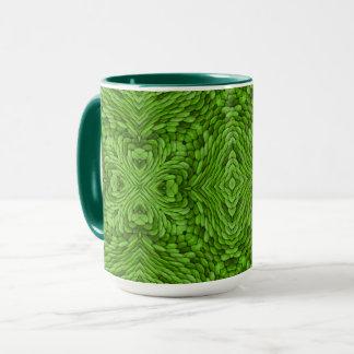 Taza combinada del caleidoscopio verde del vintage