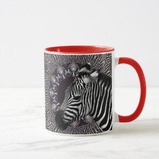 Taza combinada roja del arte de la cebra