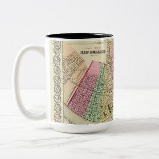 Taza con el mapa 1956 del algodón de New Orleans