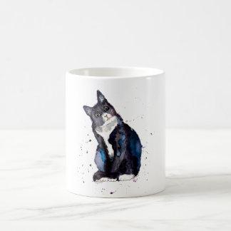 Taza con gato handgemaltem viejo con acuerdo de