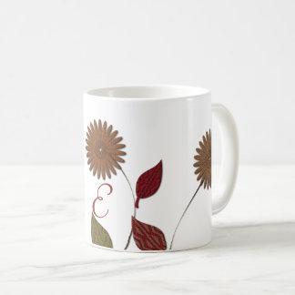 Taza con monograma abstracta floral elegante
