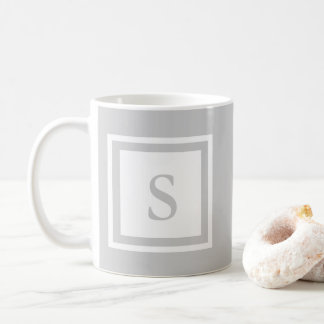 Taza con monograma - gris y blanco