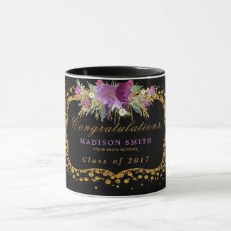 Taza Confeti del oro de la flor del brillo de la
