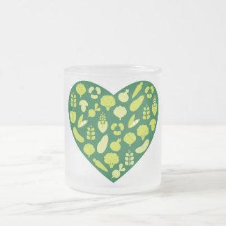 Taza congelada con el corazón vegetal