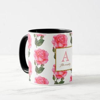 Taza Cuadrado floral del monograma del arte de los