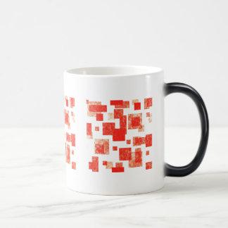 Taza cuadrados abstracto roja