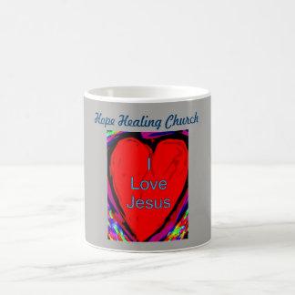 Taza curativa de la taza de café de Jesús del amor