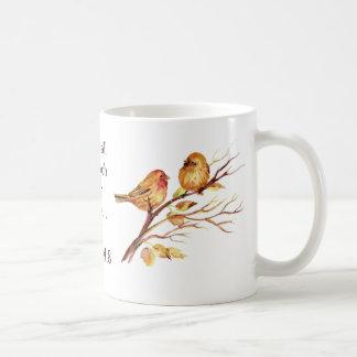 Taza De Café 1 amor del 4:8 de Peter profundamente pájaros de