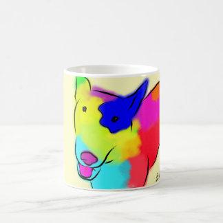 Taza de café abstracta de bull terrier