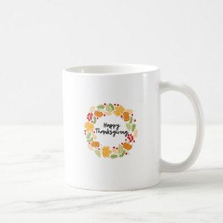 Taza De Café ACCIÓN DE GRACIAS FELIZ, guirnalda de la acción de