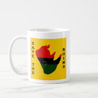 Taza De Café Ahorre el rinoceronte con amarillo del rasgón de