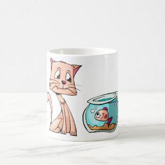 Taza De Café amigos del dibujo animado del gato y de los