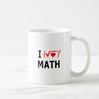 Taza De Café Amo blanco de la matemáticas