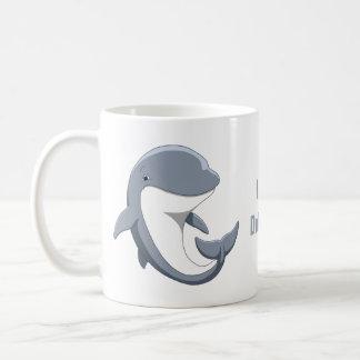 Taza De Café Amo el Bottlenose lindo de los delfínes