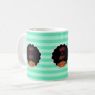 Taza De Café ¡Amo el pelo natural! Panal y modelo lindo feliz