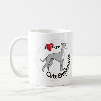 Taza De Café Amo mi divertido adorable feliz y el galgo lindo