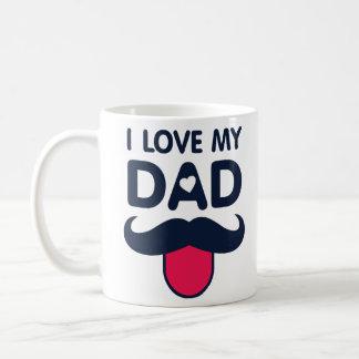 Taza De Café Amo mi icono lindo del bigote del papá