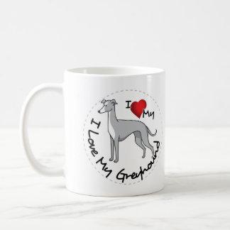 Taza De Café Amo mi perro del galgo