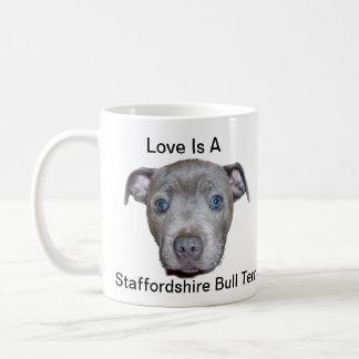 Taza De Café Amor adolescente azul de Staffordshire bull