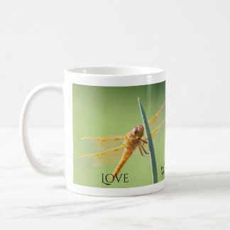 Taza De Café Amor, sabiduría, fe, libélula