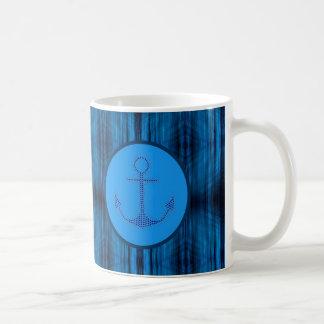 Taza De Café Ancla abstracta náutica de muy buen gusto del azul