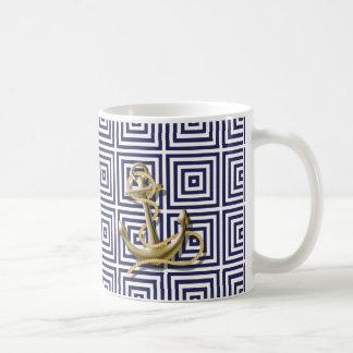 Taza De Café Ancla náutica de muy buen gusto del modelo griego